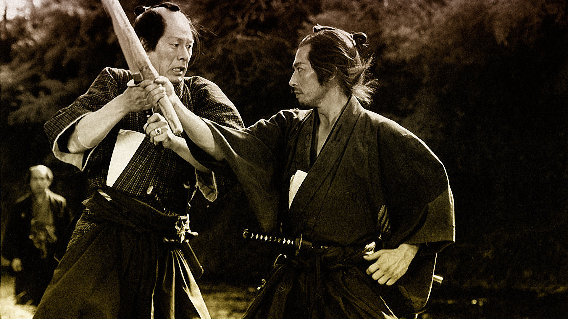 Seibei proves he is a highly skilled samurai-in-waiting, when he defeats Tomoe's former husband in a duel with only a wooden sword early in the film